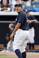 July 10, 2009:  Manager Luis Sojo of the Tampa Yankees argues with umpire Jordan Ferrell during a game at George M. Steinbrenner Field in Tampa, FL.  Tampa is the Florida State League High-A affiliate of the New York Yankees.  Photo By Mike Janes/Four Seam Images