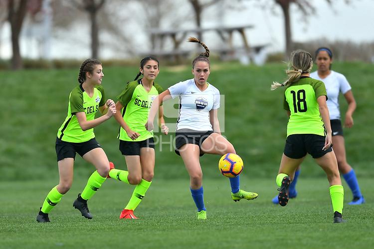 Commerce City, CO - Sunday April 28, 2019: U.S. Soccer Girl's Development Academy Spring Showcase at Dick's Sporting Goods Park.