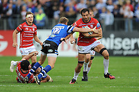 Mariano Galarza of Gloucester Rugby is tackled by Rhys Priestland of Bath Rugby during the Gallagher Premiership Rugby match between Bath Rugby and Gloucester Rugby at The Recreation Ground on Saturday 8th September 2018 (Photo by Rob Munro/Stewart Communications)