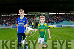 Shane Sullivan (Kilmoyley) and Ivan Conway (Lixnaw) bring out the new Neilus Flynn Cup for the Kerry Senior Hurling championship before the game.