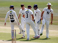 Marcus O'Riordan (2nd L) of Kent celebrates after taking the wicket of Harry Finch during Kent CCC vs Sussex CCC, Bob Willis Trophy Cricket at The Spitfire Ground on 8th August 2020