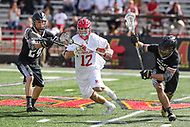College Park, MD - May 14, 2017:Maryland Terrapins Jon Garino (12) tries to get the groundball during the NCAA first round game between Bryant and Maryland at  Capital One Field at Maryland Stadium in College Park, MD.  (Photo by Elliott Brown/Media Images International)