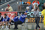 02 May 2015: Carolina head coach Colin Clarke (NIR) catch the ball as it bounces out of bounds. The Carolina RailHawks hosted the Tampa Bay Rowdies at WakeMed Stadium in Cary, North Carolina in a North American Soccer League 2015 Spring Season match. The game ended in a 1-1 tie.