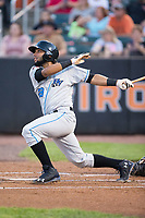 Rafelin Lorenzo (28) of the Hudson Valley Renegades follows through on his swing against the Aberdeen IronBirds at Leidos Field at Ripken Stadium on July 27, 2017 in Aberdeen, Maryland.  The IronBirds defeated the Renegades 3-0 in game two of a double-header.  (Brian Westerholt/Four Seam Images)