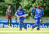 ICC World T20 Qualifier - GROUP B MATCH - AFGHANISTAN v UAE at Grange CC, Edinburgh - Afghanistan's Shazad and Asghar gather runs — credit @ICC/Donald MacLeod - 10.07.15 - 07702 319 738 -clanmacleod@btinternet.com - www.donald-macleod.com