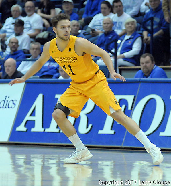 February 4, 2017:  Wyoming guard, Jeremy Lieberman #11, in action during the NCAA basketball game between the Wyoming Cowboys and the Air Force Academy Falcons, Clune Arena, U.S. Air Force Academy, Colorado Springs, Colorado.