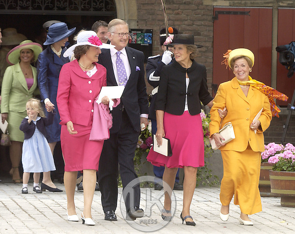 Princess Margriet, Pieter Van Vollenhoven, Princess irene & Princess Christina of Holland he Christening of Crown Prince Willem-Alexander & Crown Princess Maxima of Holland's daughter Catharina-Amalia at the St. Jacobskerk Church in The Hague..