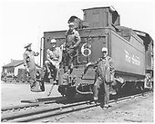 D&amp;RGW K-36 #486 on dual guage track with crewman.<br /> RGS