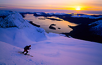 Enjoying a 40 degree slope and the last rays of sun above the fjord, Eggja, Sunnmorsalpane, 2006
