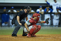 Johnson City Cardinals catcher Aaron Antonini (53) sets a target as home plate umpire Lane Culipher looks on during the game against the Burlington Royals at Burlington Athletic Stadium on September 4, 2019 in Burlington, North Carolina. The Cardinals defeated the Royals 8-6 to win the 2019 Appalachian League Championship. (Brian Westerholt/Four Seam Images)