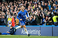 Eden Hazard of Chelsea celebrates his equalising goal during the Premier League match between Chelsea and Newcastle United at Stamford Bridge, London, England on 2 December 2017. Photo by David Horn.