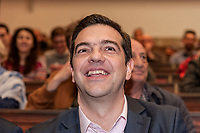 """ROME, ITALY - MARCH 23: Greek Prime Minister Alexis Tsipras  participated in the meeting """"Transform Europe"""",  which was held to University La Sapienza. In the courtroom to hear the greek prime minister many militants of the radical left, from different parties, and associations on March 23, 2017 in Rome;Italy."""