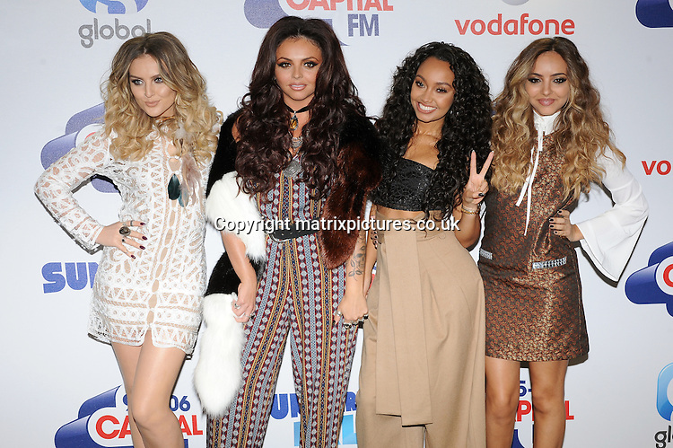 NON EXCLUSIVE PICTURE: PAUL TREADWAY / MATRIXPICTURES.CO.UK<br /> PLEASE CREDIT ALL USES<br /> <br /> WORLD RIGHTS<br /> <br /> English girl group Little Mix attend The Capital FM Summertime Ball at Wembley Stadium in London.<br /> <br /> JUNE 6th 2015<br /> <br /> REF: PTY 151822