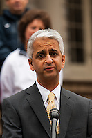 U.S. Soccer president Sunil Gulati addresses the media at a press conference honoring the centennial of U. S. Soccer at City Hall in New York, NY, on April 05, 2013.