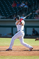 Mesa Solar Sox third baseman Bobby Dalbec (11), of the Boston Red Sox organization, follows through on his swing during an Arizona Fall League game against the Peoria Javelinas at Sloan Park on October 24, 2018 in Mesa, Arizona. Mesa defeated Peoria 4-3. (Zachary Lucy/Four Seam Images)