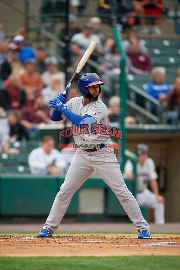 Buffalo Bisons Richard Urena (16) at bat during an International League game against the Rochester Red Wings on May 31, 2019 at Frontier Field in Rochester, New York.  Rochester defeated Buffalo 5-4 in ten innings.  (Mike Janes/Four Seam Images)