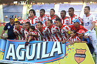 BARRANQUILLA  -COLOMBIA, 4-MARZO-2015. Formacion del Atletico Junior contra El Barranquilla FC   durante partido por la fecha 2 de la Copa   çguila I 2015 jugado en el estadio Metropolitano  de la ciudad de Barranquilla./Team of  of Atletico Junior  against    of Barranquilla FC during the match for the second  date of the Liga  Aguila  I 2015 played at Metropolitano  stadium in Barranquilla city<br />