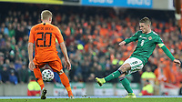 16th November 2019; Windsor Park, Belfast, County Antrim, Northern Ireland; European Championships 2020 Qualifier, Northern Ireland versus Netherlands; Northern Ireland's Steven Davis passes the ball forward - Editorial Use