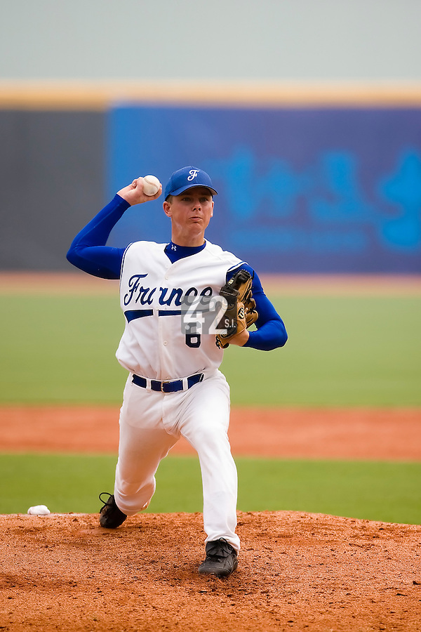 19 August 2007: Pitcher #6 Anthony Piquet pitches during the Japan 4-3 victory over France in the Good Luck Beijing International baseball tournament (olympic test event) at the Wukesong Baseball Field in Beijing, China.