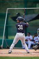 GCL Yankees West first baseman Jesus Graterol (31) at bat during the second game of a doubleheader against the GCL Braves on July 30, 2018 at Champion Stadium in Kissimmee, Florida.  GCL Braves defeated GCL Yankees West 5-4.  (Mike Janes/Four Seam Images)
