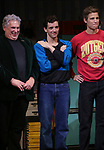 "Harvey Fierstein, Michael Urie and Ward Horton during the Broadway Opening Night Curtain Call for ""Torch Song"" at the Hayes Theater on November 1, 2018 in New York City."