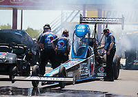 Apr 14, 2019; Baytown, TX, USA; Crew members for NHRA top fuel driver Antron Brown during the Springnationals at Houston Raceway Park. Mandatory Credit: Mark J. Rebilas-USA TODAY Sports
