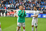 11.05.2019, PreZero Dual Arena, Sinsheim, GER, 1. FBL, TSG 1899 Hoffenheim vs. SV Werder Bremen, <br /> <br /> DFL REGULATIONS PROHIBIT ANY USE OF PHOTOGRAPHS AS IMAGE SEQUENCES AND/OR QUASI-VIDEO.<br /> <br /> im Bild: Johannes Eggestein (SV Werder Bremen #24) bedankt sich bei den Fans<br /> <br /> Foto &copy; nordphoto / Fabisch
