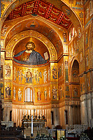 Medieval Byzantine mosaics of with a depiction of Christ Pantocrator on the apse and main altar, Monreale Cathedral, Sicily
