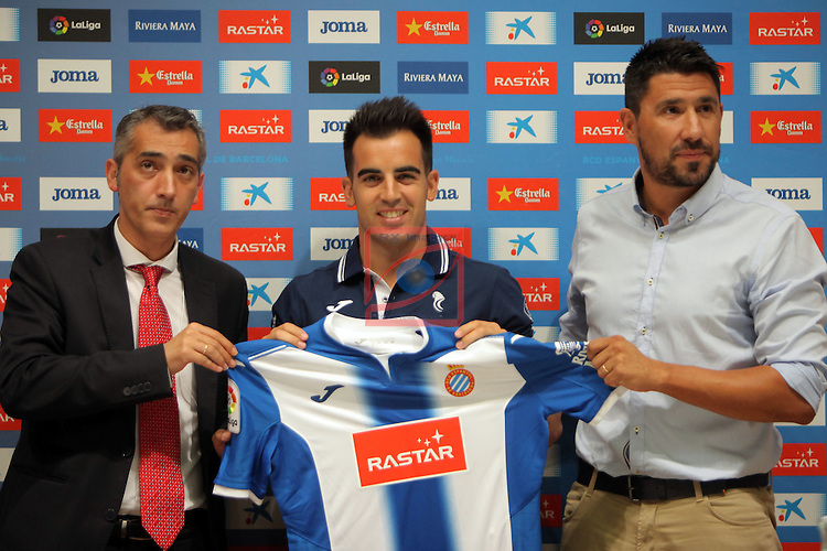 League BBVA 2016/2017.<br /> Jose Manuel Jurado presented as new player of RCD Espanyol.<br /> Ramon Robert, Jose Manuel Jurado &amp; Angel Gomez.