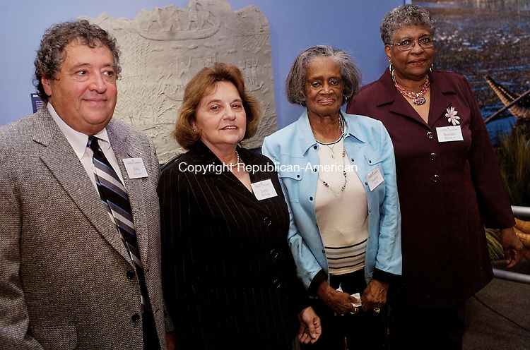 WATERBURY, CT--03 October 07--100307TJ11 - John DeCesare, from left, with his wife, Joyce, who is a former member of the Scholarship Committee, Juanita Kent, co-founder of the In Search of Excellence scholarship fund, and Bermer Ridenhour, representing the GFWC/CT Waterbury Women's Club, attend a reception for the Connecticut Community Foundation at Timexpo in Waterbury, Conn., on Wednesday, October 3, 2007. T.J. Kirkpatrick/Republican-American