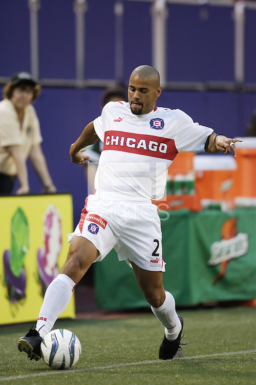 TheChicago Fire's C.J. Brown tries to save a ball from going out of bounds. The Chicago Fire played the NY/NJ MetroStars to a one all tie at Giant's Stadium, East Rutherford, NJ, on May 15, 2004.