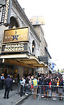 """Students arrive before The Rockefeller Foundation and The Gilder Lehrman Institute of American History sponsored High School student #EduHam matinee performance of """"Hamilton"""" at the Richard Rodgers Theatre on October 25, 2017 in New York City."""