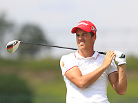 Borja Virto Astudillo(ESP) on the 1st tee during Round 1 of the Challenge de Madrid, a Challenge  Tour event in El Encin Golf Club, Madrid on Wednesday 22nd April 2015.<br /> Picture:  Thos Caffrey / www.golffile.ie