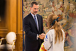 """King Felipe Vi of Spain during Royal Audience to a representation of young participating in the cultural program """"Ruta BBVA 2015"""" at Zarzuela Palace in Madrid, July 28, 2015. <br /> (ALTERPHOTOS/BorjaB.Hojas)"""