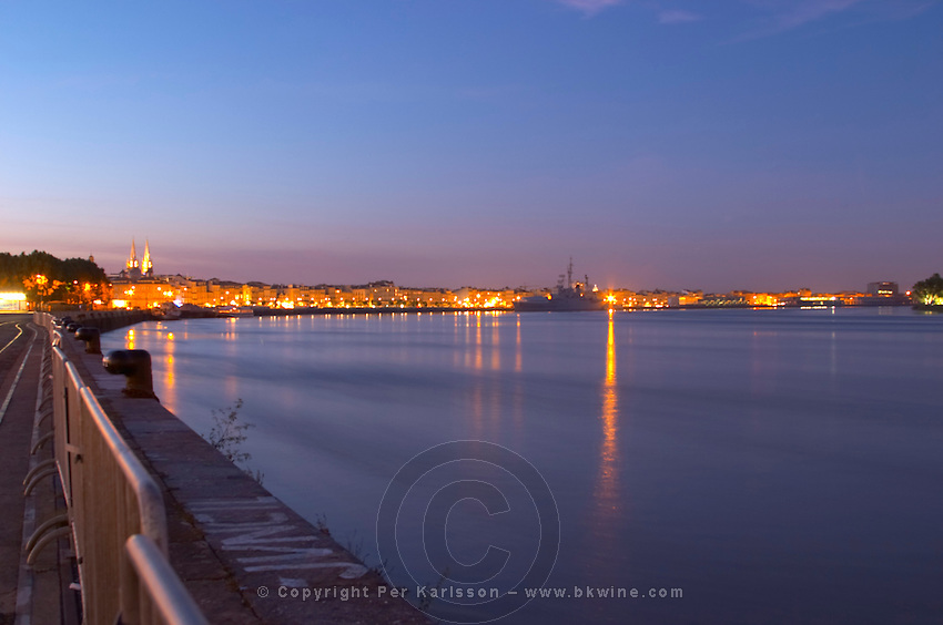 The Garonne river in Bordeaux: a view towards the Quai des Chartrons and the war ship Le colbert