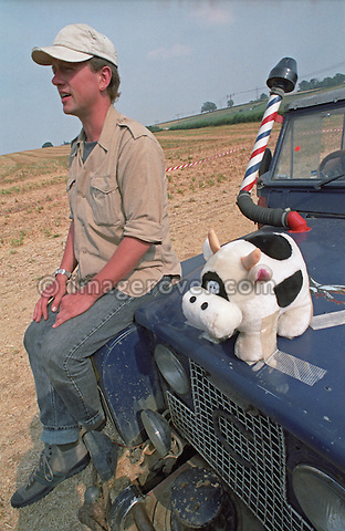 A friends trip using a soft top Series 2a Land Rover which is carrying a stuffed toy cow as a figurehead. --- No releases available. Automotive trademarks are the property of the trademark holder, authorization may be needed for some uses.