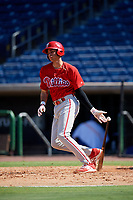 Philadelphia Phillies Juan Herrera (22) hits a double during a Florida Instructional League game against the Toronto Blue Jays on September 24, 2018 at Spectrum Field in Clearwater, Florida.  (Mike Janes/Four Seam Images)