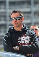 Apr. 1, 2012; Las Vegas, NV, USA: NHRA pro stock motorcycle rider Hector Arana Jr during the Summitracing.com Nationals at The Strip in Las Vegas. Mandatory Credit: Mark J. Rebilas-