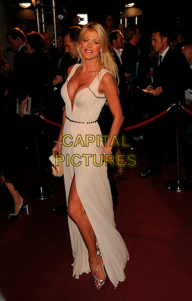VICTORIA SILVSTEDT.The Orange British Academy Film Awards 2008  Aftershow Party, Grosvenor House Hotel, London, England. .February 10th, 2008..BAFTA Arts full length white dress hand on hip leg slit cleavage boobs.CAP/CAN .?Can Nguyen/Capital Pictures