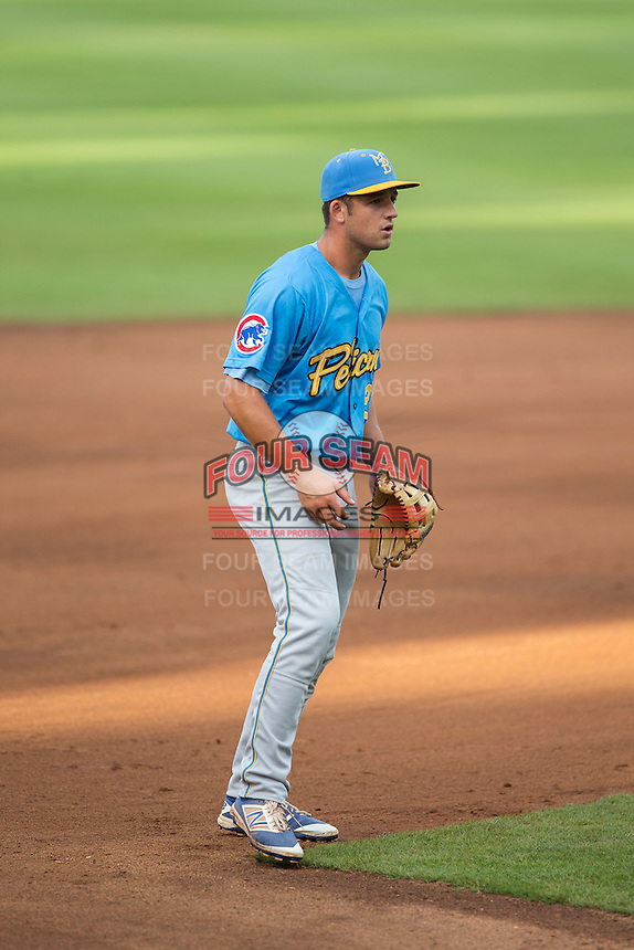 Myrtle Beach Pelicans second baseman Jason Vosler (22) on defense against the Winston-Salem Dash at BB&T Ballpark on July 7, 2016 in Winston-Salem, North Carolina.  The Dash defeated the Pelicans 13-9.  (Brian Westerholt/Four Seam Images)