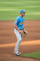 Myrtle Beach Pelicans second baseman Jason Vosler (22) on defense against the Winston-Salem Dash at BB&T Ballpark on July 7, 2016 in Winston-Salem, North Carolina.  The Dash defeated the Pelicans 13-9.  (Brian Westerholt/Four Seam Images)