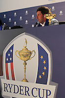 Winning Captain Jose Maria Olazabal at the press conference after the final day's play at the Ryder Cup 2012, Medinah Country Club,Medinah, Illinois,USA 30/09/2012.Picture: Fran Caffrey/www.golffile.ie.