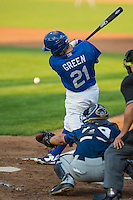 Gage Green (21) of the Ogden Raptors at bat against the Helena Brewers in Pioneer League action at Lindquist Field on August 17, 2015 in Ogden, Utah. Ogden defeated Helena 7-2.   (Stephen Smith/Four Seam Images)
