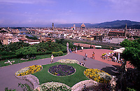 Beautiful scenic of Michelangelo Plaza on mountaintop overlooking romantic Florence Italy in Tuscan