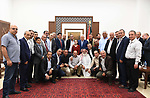 Palestinian President Mahmoud Abbas meets with the heads of the popular committees for the Palestinian camps, in the West Bank city of Ramallah on July 9, 2018. Photo by Thaer Ganaim