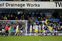 Shane Ferguson (far right) scores Millwall's second goal direct from a free-kick during Millwall vs Hull City, Emirates FA Cup Football at The Den on 6th January 2019