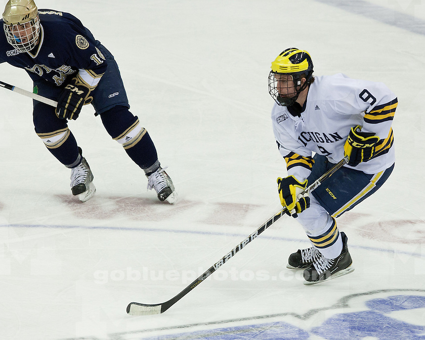 The University of Michigan ice hockey team defeats Notre Dame University 4-2 in the CCHA Tournament consolation game at Joe Louis Arena in Detroit, Mich. on March 19, 2011.