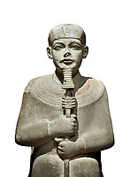 """Ancient Egyptian statue of Ptah - limestone - New Kingdom. 18th Dynasty, reign of Amenhotep III (1390 - 1353 BC), Karnac. Egyptian Museum, Turin.  white background<br /> <br /> Large statue of Egyptian gods are rare and most of them are part of building designs. This imposing statue of Ptah was probably made for the """"Temple of Millions of Years"""", on the west bank of Thebes, promoted by Amenhotep III . When the temple was eventually abandoned its statues were reused in other temples in the region. Drovetti collection C. 87"""