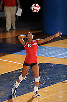 20 November 2008:  Arkansas State outside hitter Mandy DeWalt (10) serves during the Middle Tennessee 3-0 victory over Arkansas State in the first round of the Sun Belt Conference Championship tournament at FIU Stadium in Miami, Florida.