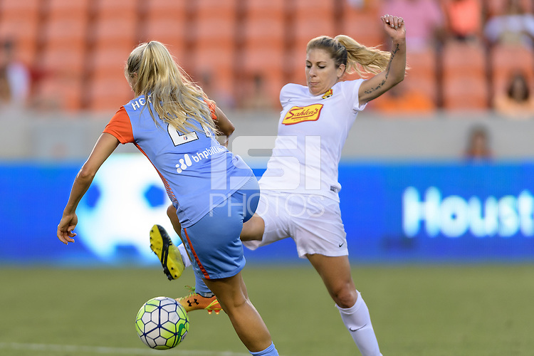 Houston, TX - Saturday July 30, 2016: Melissa Henderson, McCall Zerboni during a regular season National Women's Soccer League (NWSL) match between the Houston Dash and the Western New York Flash at BBVA Compass Stadium.